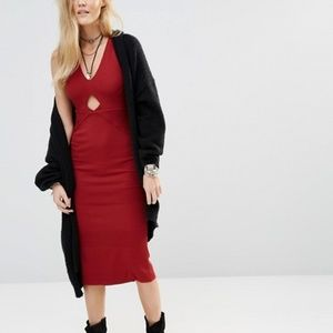 Free People All The Right Angles Fitted Midi Dress